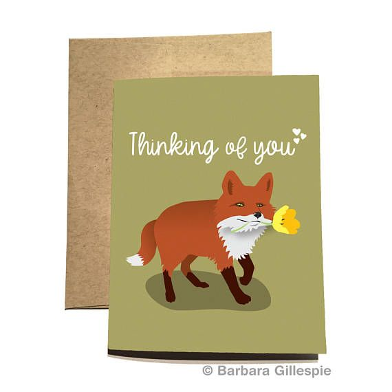 Fox Thinking of You Card by Flopsock Designs on Etsy