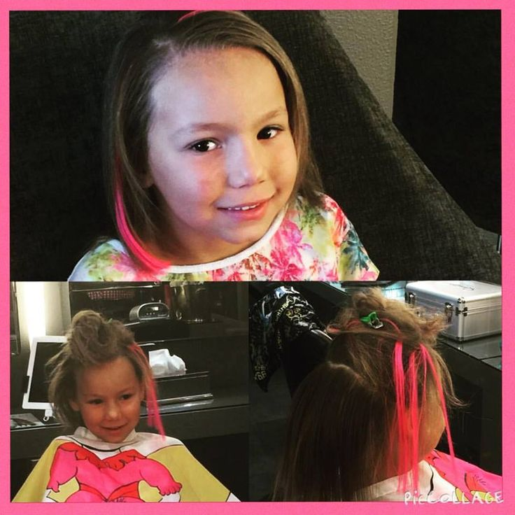 Pink hair extensions by Stacey for this little sweetie, at Midori