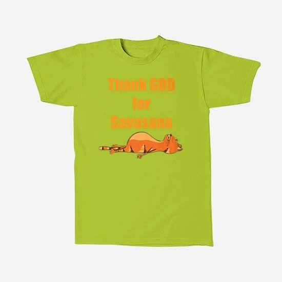 Yoga Cat - Thank God for Savasana - oleh Fncwellbeing T-Shirts for your wellbeing. #yoga #fncwellbeing #kaosmurah #fashion #belanja #namaste fncwellbeing.com