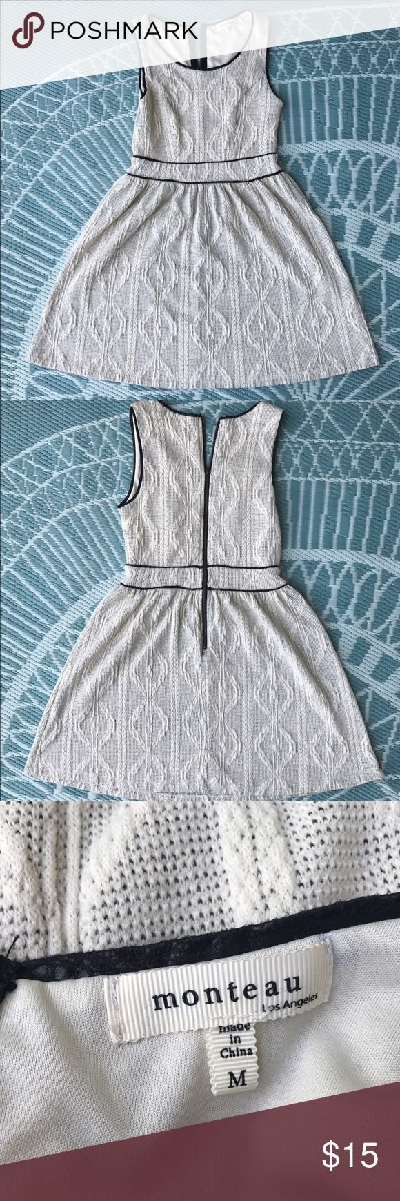 Monteau cream apron dress Elegant, classy dress. Perfect for a special occasion or just to go out. Zipper works perfectly. No defects on the dress. EUC. Monteau Dresses
