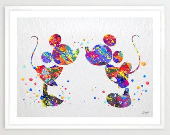 Mickey and Minnie Disney Watercolor Art Print,Wall Art Poster,Girls Room Decor Art,Wall Hanging,Kids Art,Birthday/Wedding Gift,No 43