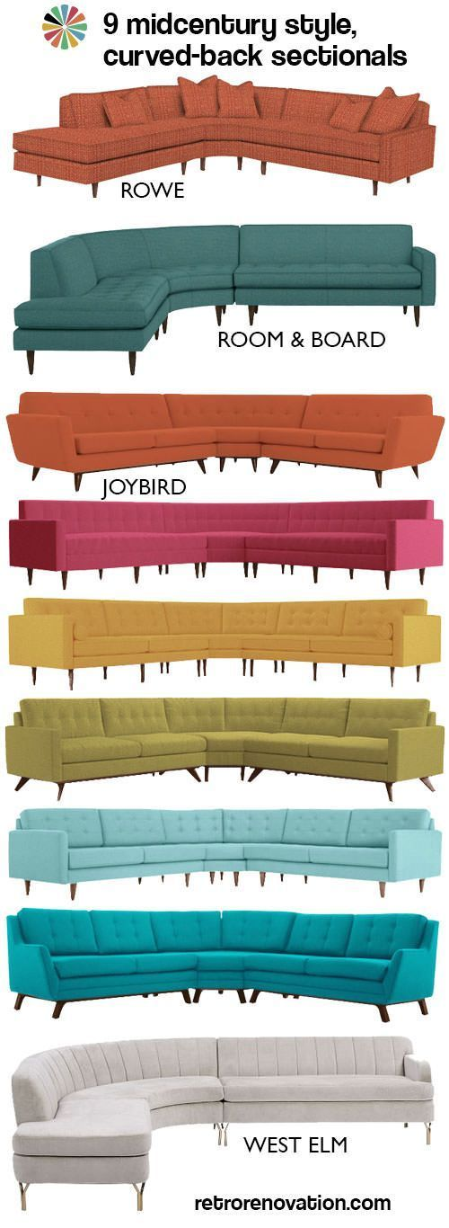 9 swanky curved sectionals in midcentury modern style - Retro Renovation #retrohomedecor