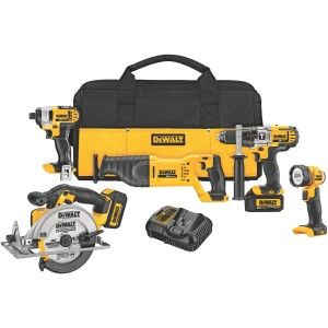 The DEWALT DCK590L2 20-Volt MAX Li-Ion 3.0 Ah 5-Tool Combo Kit is high-powered to tackle a wide range of applications. The kit includes a premium hammer drill, a 1/4-inch impact driver, a circular saw, a reciprocating saw, and a work light—a well-rounded arsenal of high-performance power tools that help everyone from carpenters and re-modelers to electricians and contractors work their way through a variety of applications