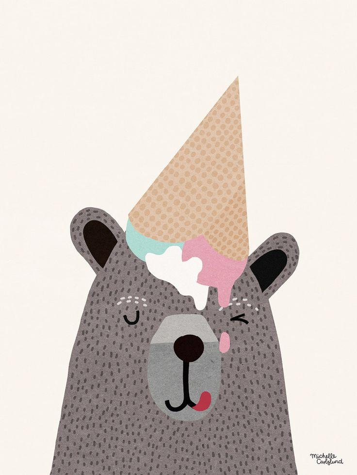 urso, sorvete, ilustração