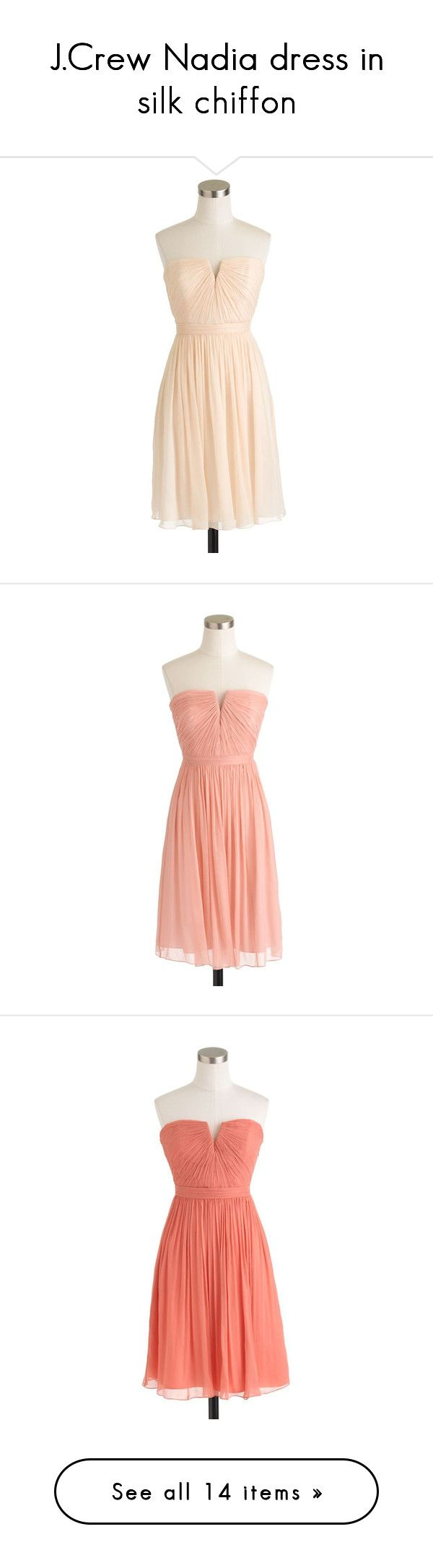 """J.Crew Nadia dress in silk chiffon"" by grace-rosanna-lee ❤ liked on Polyvore featuring dresses, vestidos, short dress, petite, below the knee dresses, petite dresses, short dresses, short beach dresses, ruched dress e bridesmaid dress"