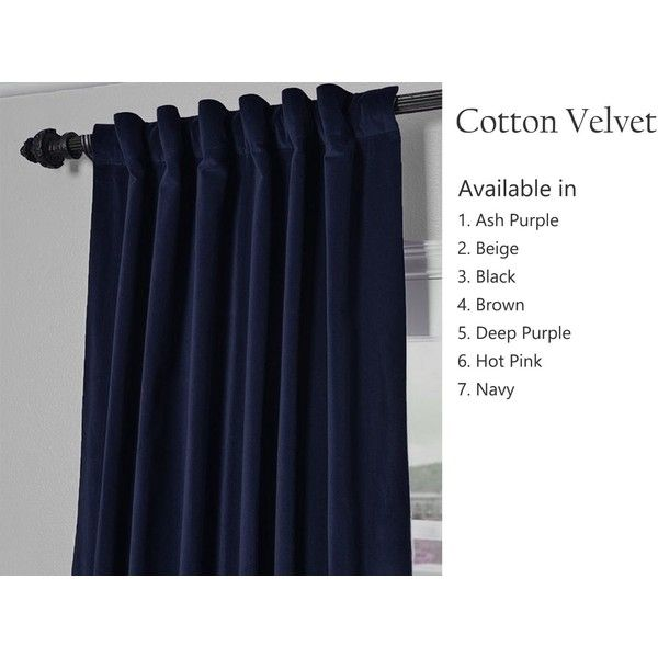 Amore Beaute Handcrafted Navy Blue Cotton Velvet Curtain Customizable... (6,900 INR) via Polyvore featuring home, home decor, window treatments, curtains, navy tab top curtains, tab top curtains, tabtop curtains, pole pocket curtains and dark blue curtains