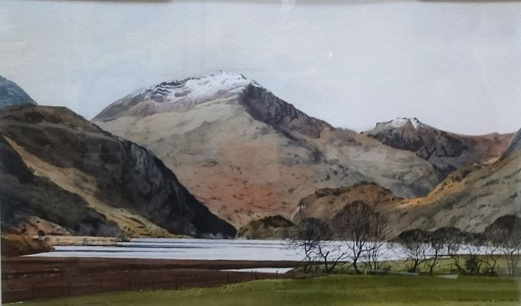 Moel hebog from Llyn Dinas., an original watercolour painting by Rob Piercy