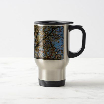 Sycamore tree in the fall against a blue sky travel mug - fall decor diy customize special cyo