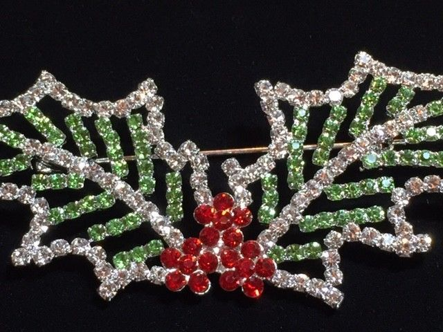 "RED GREEN PRONG SILVER RHINESTONE CHRISTMAS HOLLY BERRY PIN BROOCH JEWELRY 3"" #Unbranded"