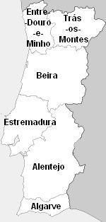 Províncias até ao século XIX. Para efeitos estatísticos e administrativos, Portugal começou, a partir do século XV, a ser dividido em seis grandes áreas: Entre-Douro-e-Minho, Trás-os-Montes, Beira, Estremadura, Entre-Tejo-e-Odiana (mais tarde conhecida por Alentejo) e Algarve.