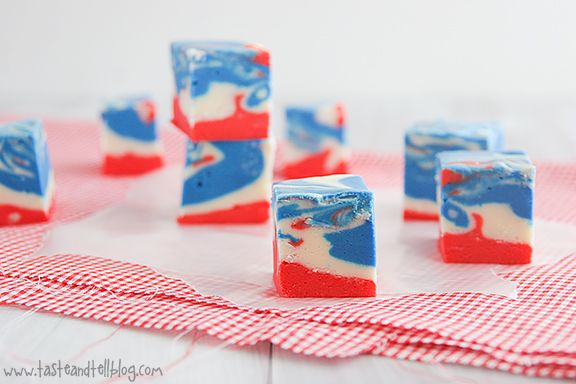 Red, White and Blue Fudge · Edible CraftsPatriots Desserts, Fourth Of July, Food, Red White Blue, 4Th Of July, Ties Dyed, Blue Wedding, Dyed Fudge, July Ties
