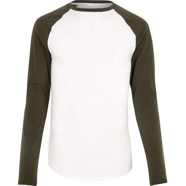 River Island White raglan muscle fit long sleeve T-shirt ($15) ❤ liked on Polyvore featuring men's fashion, men's clothing, men's shirts, men's t-shirts, white, mens raglan shirts, j crew mens shirts, mens longsleeve shirts, mens raglan t shirt and mens long sleeve shirts