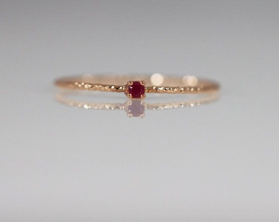 14K solid gold simple ruby ring, Gold Ruby Ring, Ruby Engagement Ring, 14K Delicate ruby ring, Birthstone ring, 14k stackable ring,  For Izzi
