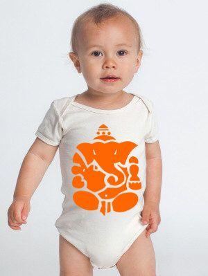 """ganesh - zen baby - zen bodysuit - Hindu bodysuit - BABY BODYSUIT design : """"ganesha""""  - ganesh body suit - ganesh clothing - ganesh baby tee by Biosphereshop on Etsy https://www.etsy.com/listing/269241505/ganesh-zen-baby-zen-bodysuit-hindu"""