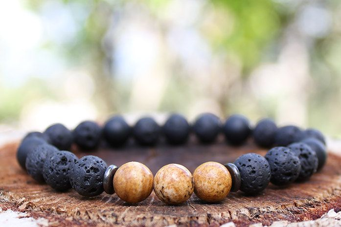 Grounding Mala Bracelet for Men  Lava Rock Onyx by DharmaWoods, $27.00