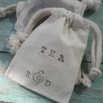 $0.89 Add our unique personalized hand stamped tea favors to your Wedding, Bridal Shower, Baby Shower or Afternoon Tea Party!    *Includes Stamped Bag filled with one organic Black Tea Bag.