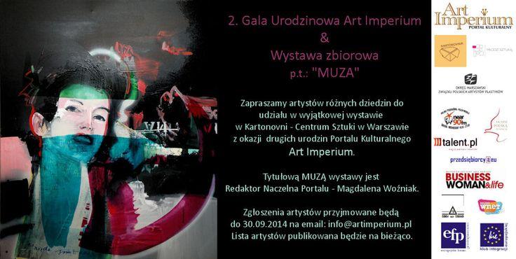 Konkurs! Zapraszamy artystów do udziału w wystawie zbiorowej pt. MUZA! http://artimperium.pl/wiadomosci/pokaz/368,konkurs-zapraszamy-artystow-do-udzialu-w-wystawie-zbiorowej-pt-muza#.VAevr_l_uSq