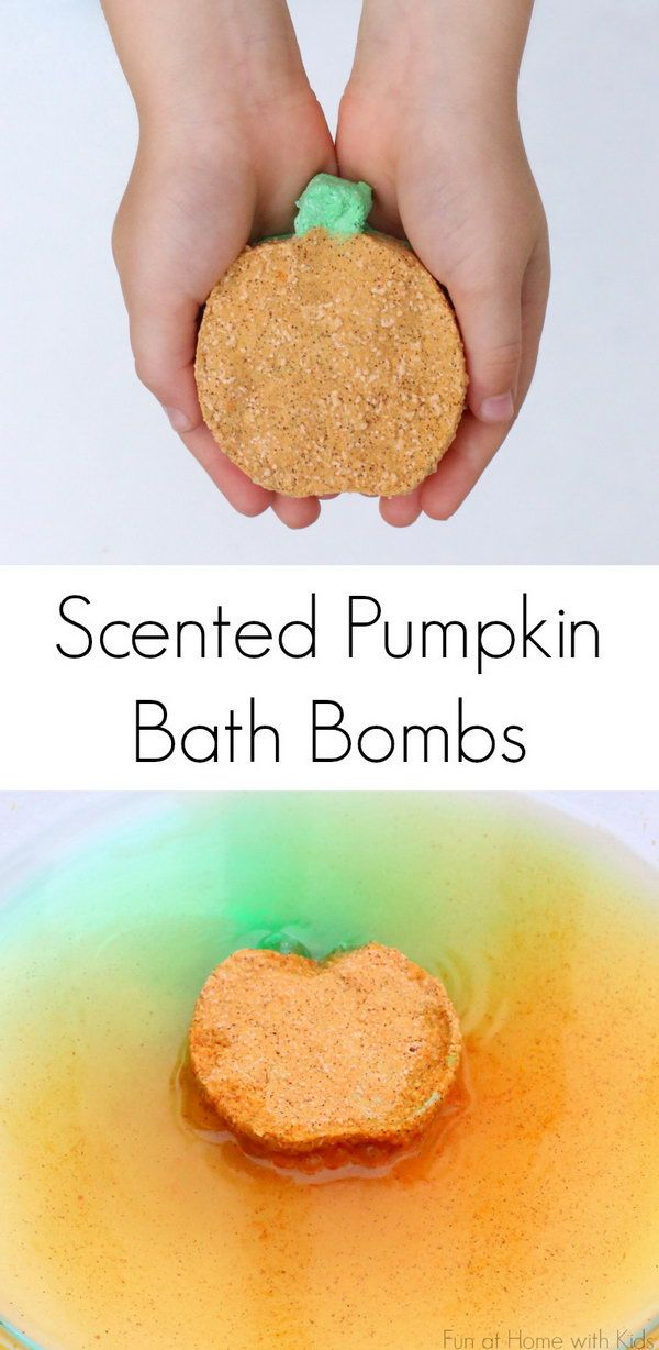 Tip: When forming put in a muffin pan, or use a cookie cutter to get different shaped bath bombs. This DIY recipe is easy, and perfect when you want a nice relaxing bath. | DIY Fizzing Fall Scented Pumpkin Bath Bombs.