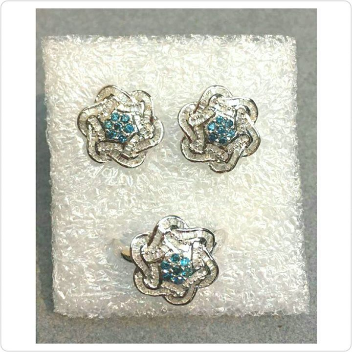 INVENTORY SALE!! 1 SET ONLY  RARE BLUE DIAMOND 💎 FLOWER DESIGN EARRINGS & RING 💍 SET in 14K SETTING Inquire for price.  100% pawnable. 100% pawnable. We offer LAY-AWAY TERMS 📲  📞  0905-223-1022 for your orders & inquiries - we will be happy to assist you. #jewelry