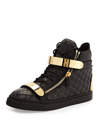 Men\'s Quilted Leather High-Top Sneaker, Black by Giuseppe Zanotti at Bergdorf Goodman.