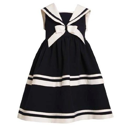 Amazon.com: Bonnie Jean Girls 7-12 Navy Sailor raya blanca sin mangas vestido de marina, 12: Ropa