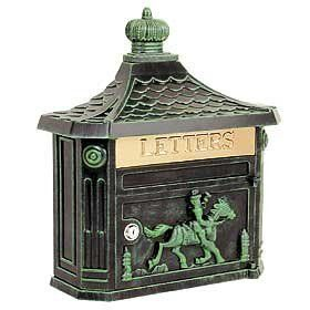 "Victorian Mailbox (Verde Green) by Victorian. $145.00. Mail flap: 10-3/4'' W x 2-1/4'' H. 15-3/4'' W x 20'' H x 5-3/4'' D. Made of cast aluminum, surface mounted Victorian mailboxes include a 10-3/4'' W x 2-1/4'' H brass mail flap with the word ""LETTERS"" engraved into it. Surface mounted Victorian mailboxes include a front access 10-3/4'' W x 6'' H door and a lock with two (2) keys. Surface mounted Victorian mailboxes may be used for U.S.P.S. residential door mail delivery."