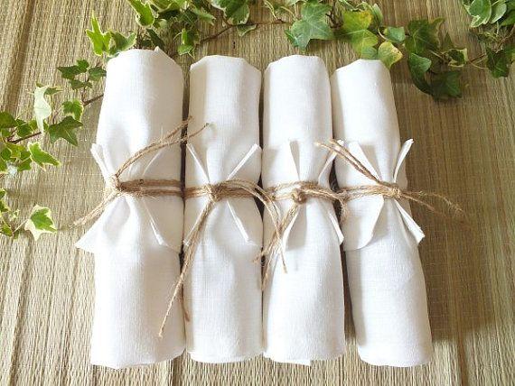 Linen Napkins Rings set of 4 White by SimaPrints on Etsy, $15.00