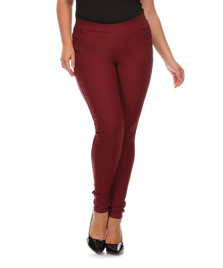 Love this BellaBerry USA Burgundy Jeggings - Plus by BellaBerry USA on #zulily! #zulilyfinds