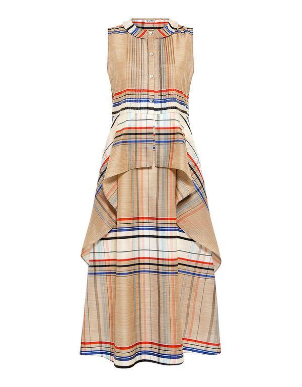 Suno: Plaid Cascade Peplum Dress (item detail - 1)