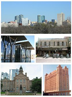 Montage of Fort Worth, Top: View of Downtown Fort Worth from Amon Carter Museum, Middle left: Fort Worth Modern Art Museum, Middle right: Fort Worth Stockyards Saloon, Bottom left: Tarrant County Courthouse, Bottom right: T&P Railroad Station