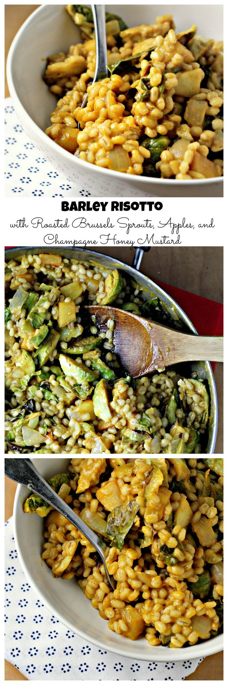 Barley Risotto with Roasted Brussels Sprouts, Apples and Champagne