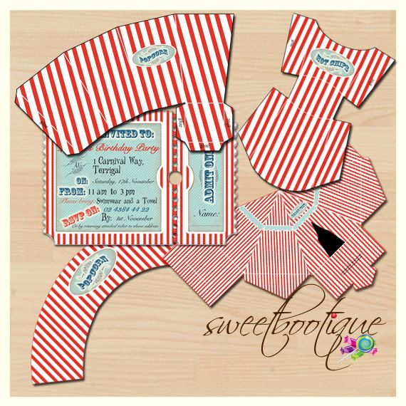 Beach / Carnival Party Pack   Printable  by SweetBootique on Etsy, $12.50