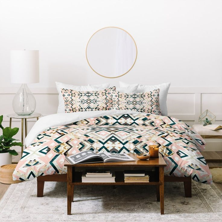 Marta Barragan Camarasa 3dimensional marbled geometry pattern Duvet Co | Deny Designs