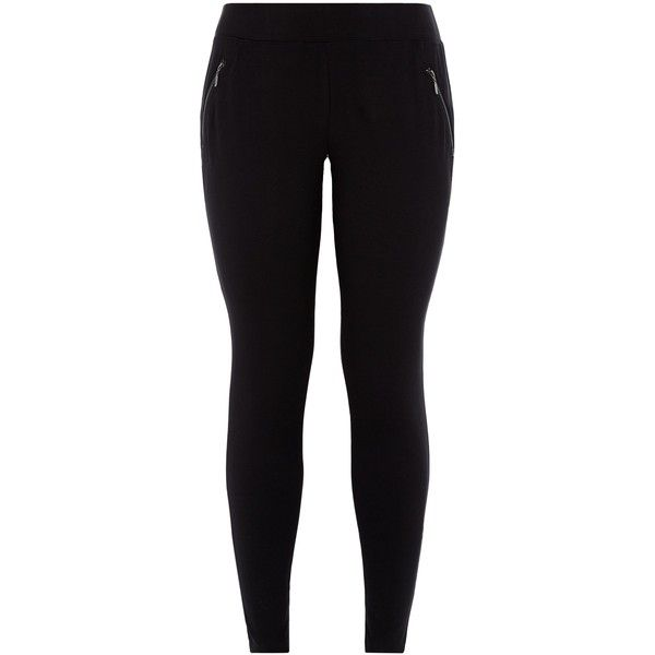 New Look Curves Black Zip Pocket Leggings ($26) ❤ liked on Polyvore featuring pants, leggings, bottoms, jeans, black, zip pocket pants, legging pants and zipper pocket pants