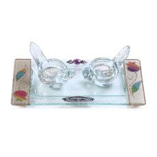 Glass Bird-Shaped Shabbat Candlesticks with Rainbow Flowers and Tray