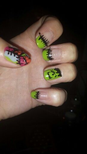 Frankinstine and patchwork nail art