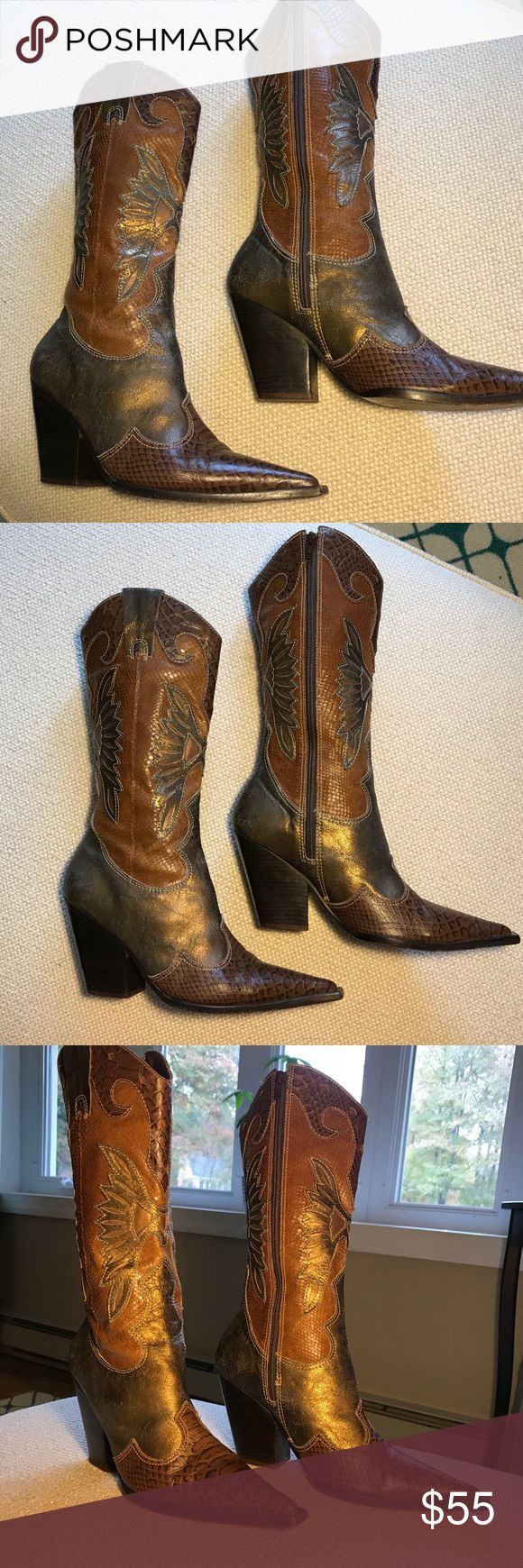 Para Raio leather cowboy boots Para Raio leather cowboy boots. Made in Brazil. Shades of gold, copper, brown.  Some normal signs of wear but they just add to the distressed look. No major flaws. Pointed toe and chunky heel. Size 9M. Para Raio Shoes Heeled Boots