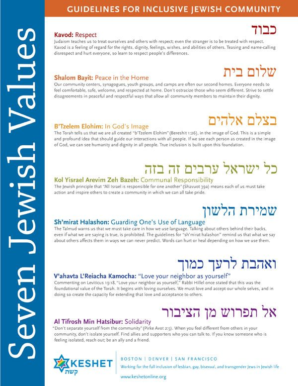 Seven Jewish Values from Keshet. Keshet is an organization that works with the LGBTQ and Jewish community.