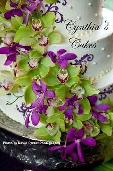 Wedding Flowers White Cake Purple Green
