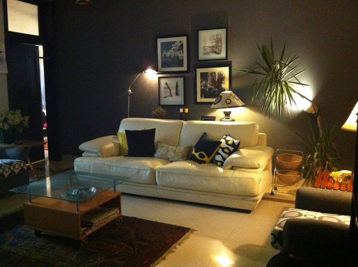 Grey Wall With Off White Sofa And Yellow Black And White