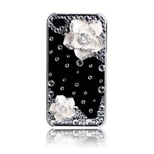 White Camellia and crystal rhinestones diy bling phone deco kit K4   chriszcoolstuff - Craft Supplies on ArtFire