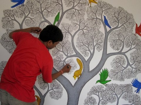 Gond art mural by Bhajju Shyam on the walls of our (Tarabooks) new building.