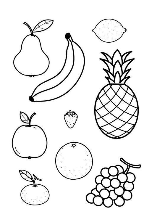 kleurplaat bij het boekje Een citroen is roze; fruit inkleuren met de verkeerde kleuren!
