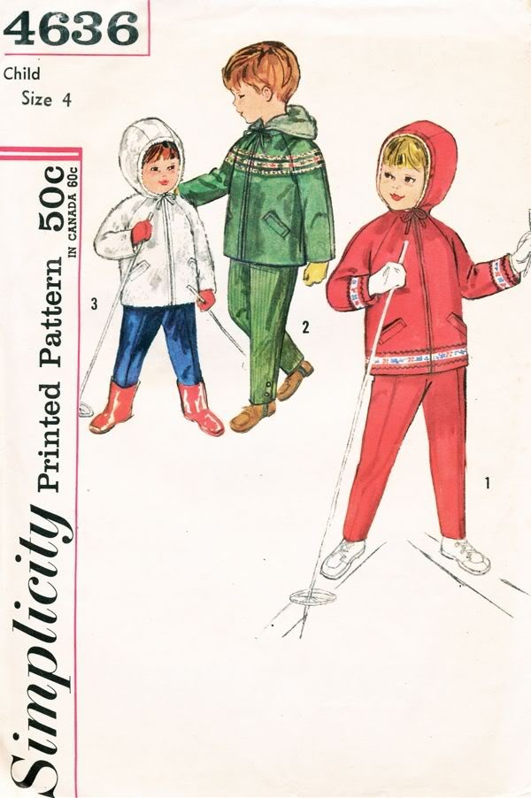 Simplicity Pattern 4636 Vintage 50s Child's Hooded Jacket and Pants - Ski Clothes. Maybe my partner could sew for the kids (NOT)