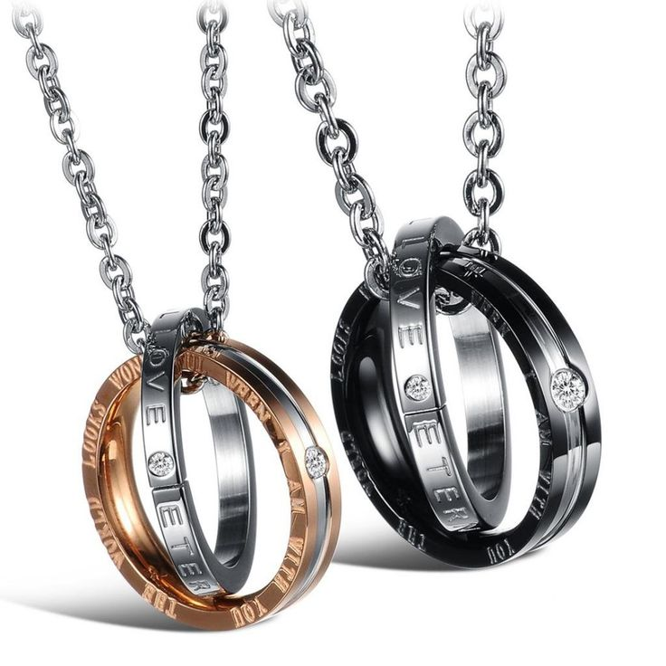Jewow Schmuck Edelstahl Verliebte Paar Halskette Doppelt Ring Anhänger mit Gravur für Sie und Ihn