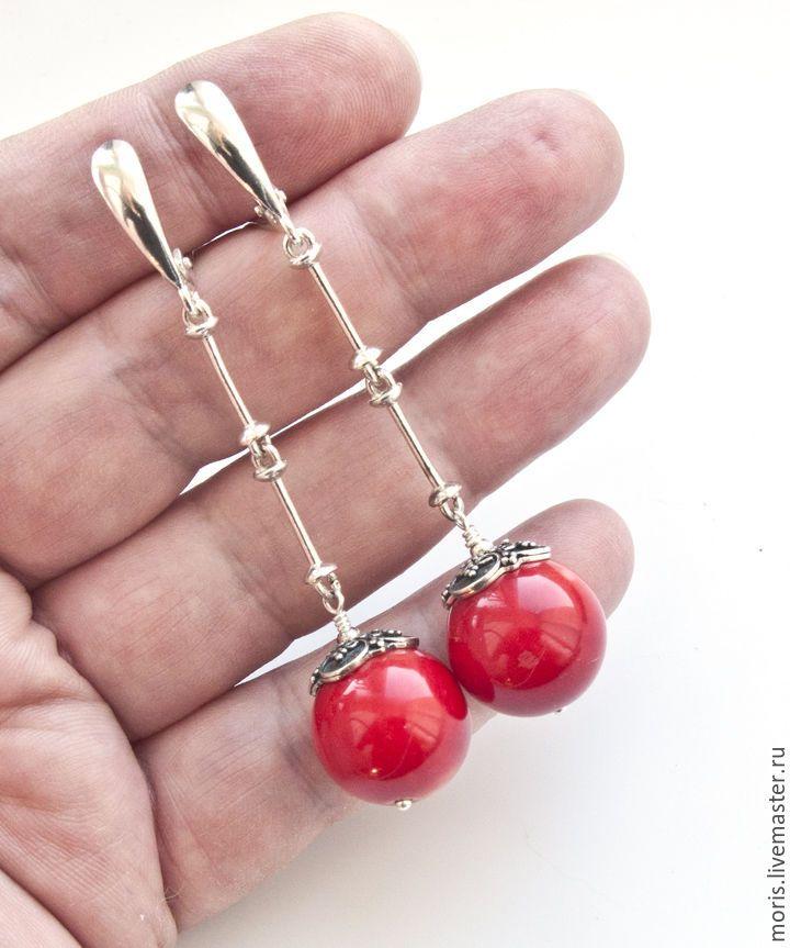"""Купить Коралловые серьги из серебра """"Красные ягоды"""" - длинные серьги, серьги из…"""