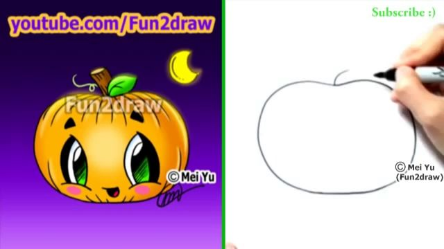 how to draw a cute pumpkin