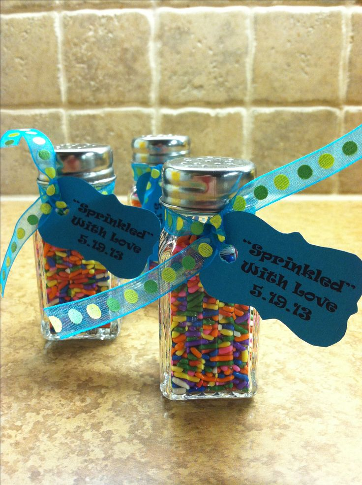 "#3 Baby boy ""sprinkle"" favor; salt & pepper shakers and candy sprinkles from Dollar store!"