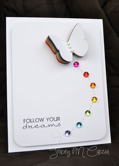 Awesome rainbow card! Love the colors under the butterfly