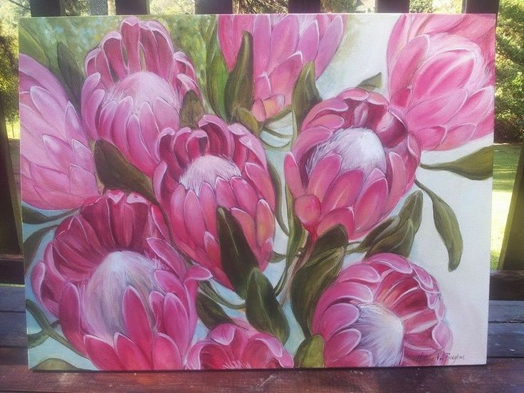 Pink ice protea. Oil & charcoal on canvas. Melissa Von Brughan